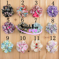 New arrival 2 inch Floral Chiffon Flower with Rhinestone and Beads Mix Color 100pcs/Lot