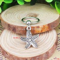 BN00179 10PCS/Lot Free Shiping captive bead ring cheap vintage alloy pendant starfish nipple ring
