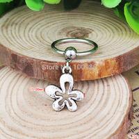 BN0181 10PCS/Lot Free Shiping captive bead ring cheap vintage alloy pendant  flower nipple ring