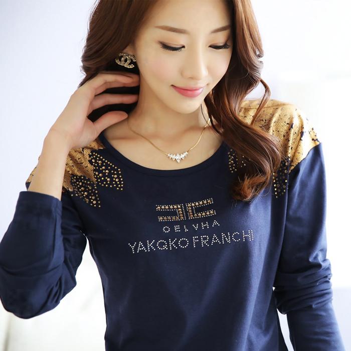 Carta Mulher algodão T do Lady Femininas Long Sleeve Plus Size Camiseta Tops Feminino Roupas Femininas Branco / Rose Vermelho / Marinho Blule(China (Mainland))