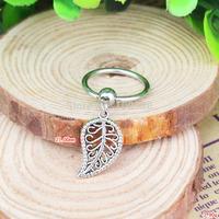 BN0180 10PCS/Lot Free Shiping captive bead ring cheap vintage alloy pendant  leaf nipple ring