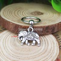 BN0017610PCS/Lot Free Shiping captive bead ring cheap vintage alloy pendant elephant nipple ring