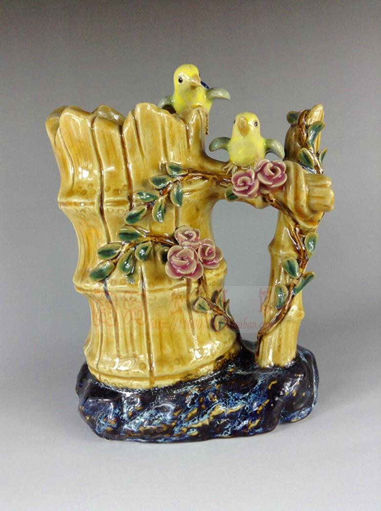 Cerâmica Shiwan presentes boneca, acessórios para casa sala de flores vaso estudo ornamentos escadas duplas de aves(China (Mainland))