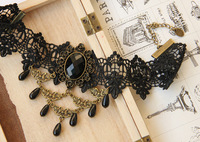 Min.order $15 Vampire Gothic Lace Choker Necklace Vintage Dangle Bead Choker Cosplay Fascinator Party Jewelry Bride Gift JL-133