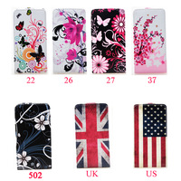 Bee Plum Flower Retro UK US Flag Butterfly Circle Flip Leather Pouch Cover with Card Cash Slot Case For Apple iPhone 6 4.7 inch