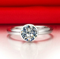 Brand Jewelry Women's 925 Silver Filled Round White Sapphire CZ Crystal Stone Wedding Ring Classic