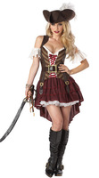 Ladies Sexy Swashbuckler Costume Adult Caribbean Pirate Wench Womens Fancy Dresses Halloween Fantasy Outfit Set Brand New w/ Hat
