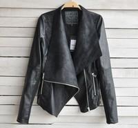 2015 New Arrival Women Leather Jacket Slim Leather Motorcycle Jacket Turn Dow Long Sleeve Zipper Jacket Coat Free Shipping