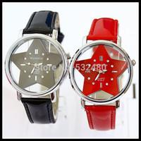 2pcs South Korean ladies fashion belts set auger watches, transparent hollow out star PU women's watch