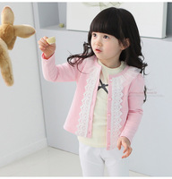 Girl Outwear2014  Fashion Spring & Autumn Children Clothing Pink Lace Patchwork Sweater Kids Cardigan Girl Casual Coat