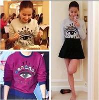 New 2014 FashionWomen Hoodie New Stock  Long-sleeve  Korean AutumnBig Eye Printed  t shirt  women's Sweatshirt  804