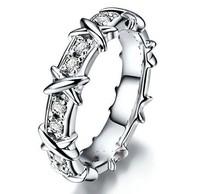 Brand Jewlery Women's 925 Silver Filled  White Sapphire CZ Crystal Stone Cross Band Wedding Ring