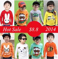 HOT 2014 children clothing  spring autumn boys girls long-sleeve T-shirt  baby kids casual basic shirt at reail
