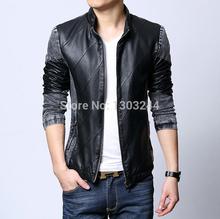 Tuoyi 2014 Autumn Winter Men PU Leather Jacket Men Fashion Denim Sleeve Coat Patchwork Jaqueta de Couro Homens Plus Size L-4XL(China (Mainland))