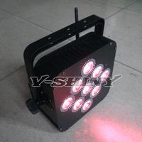 4pcs Free Shipping 15Wx9pcs RGBWA 5-IN-1 battery powered dmx wireless led flat par light