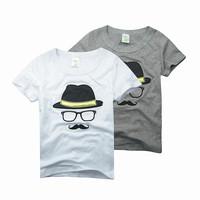 Hu Sunshine wholesale new 2014 Summer hot fashion design boys t-shirt beard and hat print leisure t-shirt white/gray color