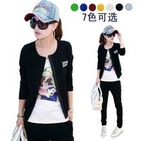 2014 autumn female casual set fashion slim long-sleeve cardigan sweatshirt set m word flag sportswear jacket pants