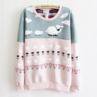 2014 newest style high quality fleece inside warm hoodies women sheep mix color cotton hoodie pink and gray Sweatshirts