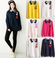 2014 turn-down collar cotton hoodies women little panda pocket Women's sweatshirts fleece good quality 5 color free shipping
