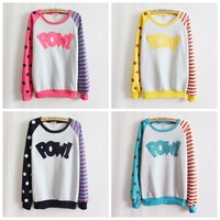 Pow!flocking letters fleece inside sweatshirts big dot and stripe sleeve nice design women hoodies 4 color