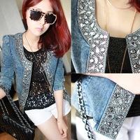 Vintage diamond sequined jacket half sleeves stretch denim rivet autumn winter jacket for women