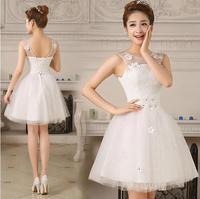 Fashionable Sweet Flower Short Wedding dress 2014 White vestido de noiva wedding dresses casamento robe de mariage gwon W115