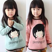 2014 new spring autumn children clothing kids girls cartoon long-seeve t-shirt child base shirt