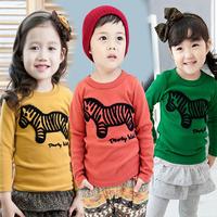 2014 New spring autumn children clothing boys girls zebra long-sleeve T-shirt kids child cartoon base shirt