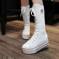 Free Shipping 2014 New Autumn and winter Women Gaotong Lace Canvas Boots Platform Shoes Snow boots Women Boots
