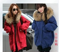 New 2014 women Wadded jacket female medium-long outerwear slim thickening winter plus size cotton-padded jacket Free Shipping