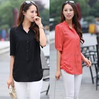 XXXL 3XL 2014 new fashion women summer short-sleeve T-shirt casual all-match shirt plus size clothing white chiffon  loose tops