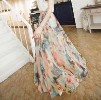 Summer 2014 Fashion Skirts Women Bohemian Chiffon Beach Long Maxi Skirt High Quality Floral Casual Skirts #AN181