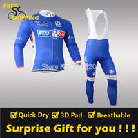 2014 Blue FDJ Fleece Thermal Long Sleeve and Bib Pants Cycling Jerseys /Wear/Clothing/Bicycle/Bike/Riding jerseys/Gel Pad