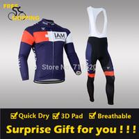 2014 Blue IAM Fleece Thermal Long Sleeve and Bib Pants Cycling Jerseys /Wear/Clothing/Bicycle/Bike/Riding jerseys/Gel Pad