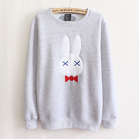 Good quality 2014 new arrive cotton hoodie long sleeve cartoon rabbit women hoodies 2 colors free shipping