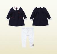 Free shipping Retail New 2014 Autumn Baby Gilr Clothing Set 2pcs dress+leggings girls clothing sets conjunto de roupa