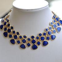 Statement Necklace Fashion Designer Jewelry Blue Enamel Bubble Bib Shorts Women Jewelry Wholesale