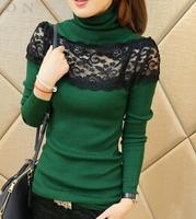 2014 casual knitted women's winter turtleneck lace long-sleeve sweater turtleneck sweater plus size women slim pullover women