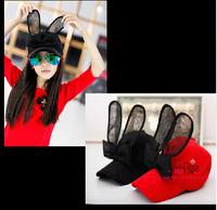 girls 2014 new three-dimensional rabbit ears suede cap baseball cap children hat parenting models