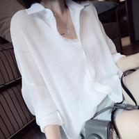 white Blouses 2014 summer autumn women's loose long-sleeve shirt cool chiffon shirt female fashion plus size tops free shipping