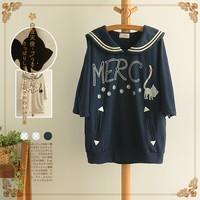 Sailor collar batwing sleeve print loose sweet comfortable sweatshirt top female 2014 autumn coat