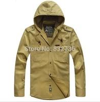 FREE SHIPPING 2014 Autumn Men Fashion Casual hooded shirt jacket 100% Cotton shirts jackets plus size M L XL XXL XXXL 4XL