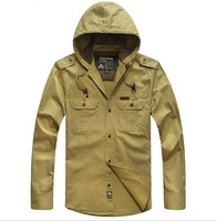 FREE SHIPPING 2014 Autumn Men Fashion Casual hooded shirt jacket 100% Cotton shirts jackets plus size M L XL XXL XXXL 4XL