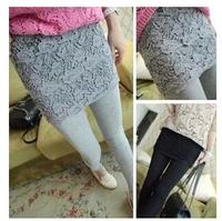 Women Legging 2014 Blended Fabric Autumn Winter Thin Thickening Lace Hook Flower Legging Pants Fitness Leggins For Women