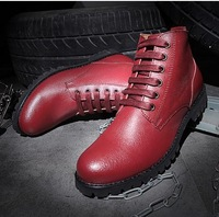 2014 fashion men's round toe lace up high upper genuine leather british style trend of ankle martin boots male shoe JL581