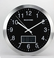 M39 High-grade 14inch size wall clock silent movement without tic tac sound by needle movement and LCD display clocks