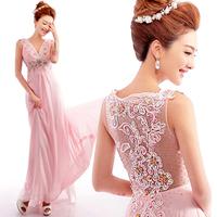 Pink diamond lace halter deep v-neck trailing bride wedding toast clothing