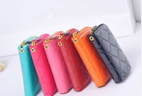 Free shipping New fashion women handbag PU leather candy color wallet card pack small fresh diamond clutch purse wristlet girls