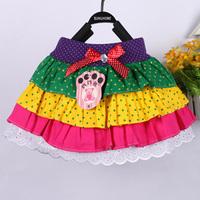 Retail girls fashion rainbow skirt 2014 new style childrens dot skirts girls tutu skirts kids baby fluffy pettiskirts DA019