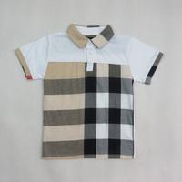 2014 summer children's T-shirts Top cotton Boys famous Brand London logo t-shirt Knitted kids fashion  luxury shirts Plaid #826